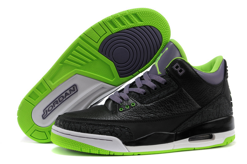 2015 Cheap Real Air Jordan 3 Retro Black Purple Green Shoes