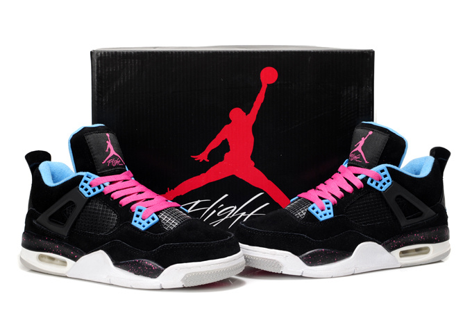 Stylish Women's Air Jordan 4 Black White Pink