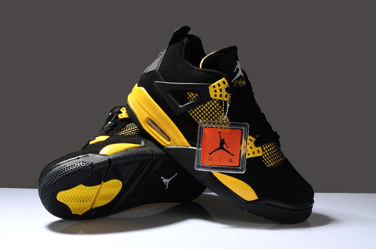 Cheap Latest Air Jordan IV Black Yellow 18c72ad65