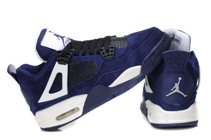 Stylish Women's Air Jordan 4 Dark Blue White