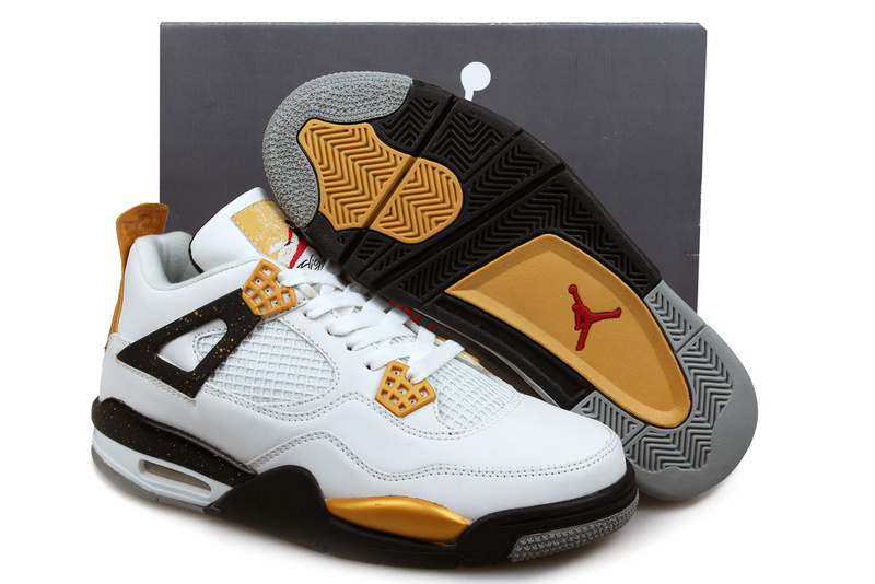 New Air Jordan 4 White Black Gold Shoes
