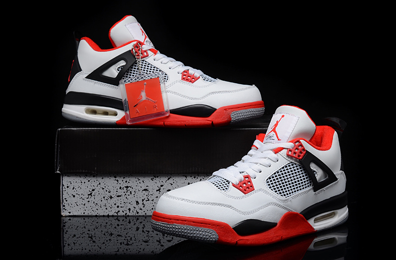 11163a013c351e Authentic Jordan 4 Retro White Red Black Shoes -  77.00