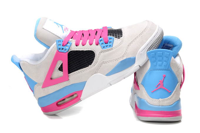 Stylish Women's Air Jordan 4 Wite Pink Blue