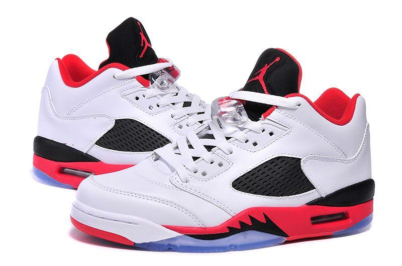 newest 962b3 0bb5e New Air Jordan 5 Low Fire Red Black Tongue Shoes