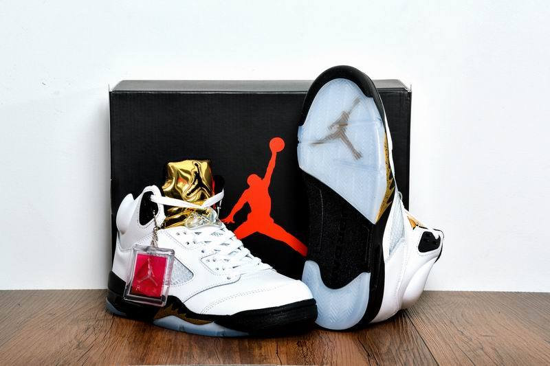 low priced cad20 dc03f New Air Jordan 5 Olympic Gold Medal White Black Metallic Gold Coin Shoes