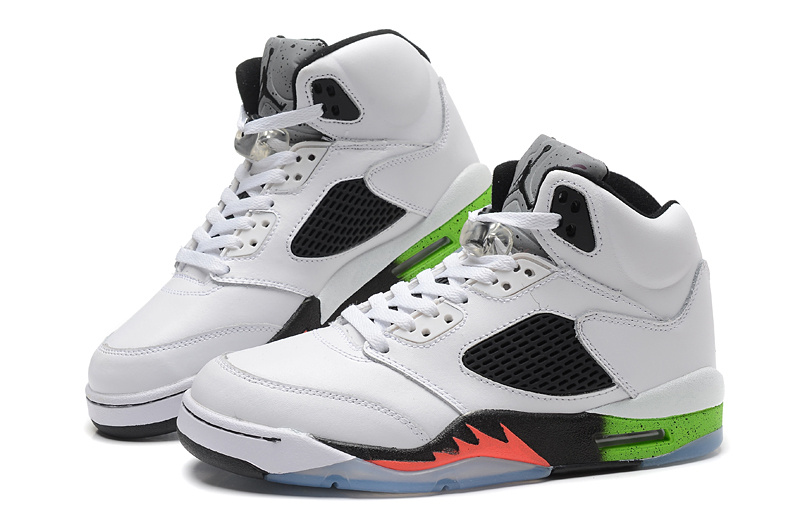 Cheap Real 2015 Air Jordan 5 White Black Green Orange Fire
