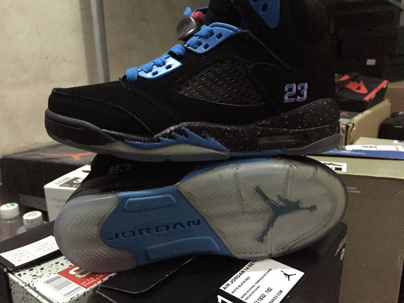 2015 Cheap Real Air Jordan 5 South Beach Black Blue Shoes