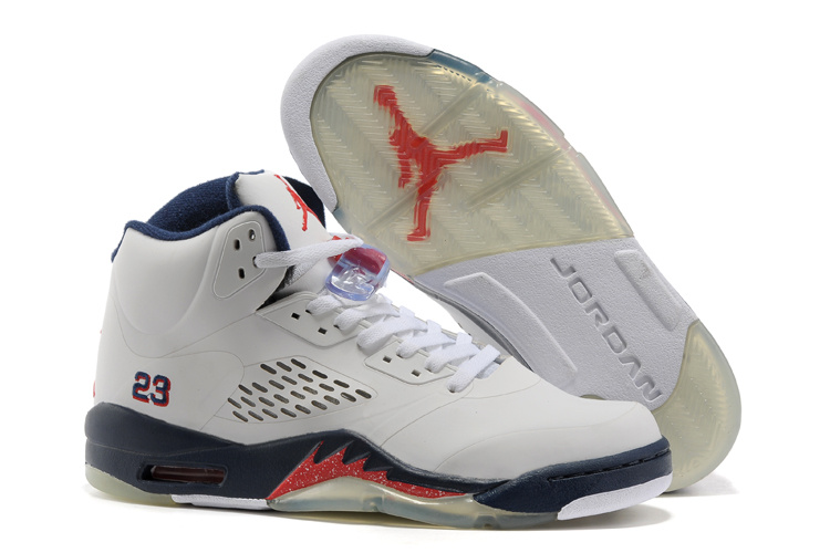Retro Air Jordan V White Blue Fire Red