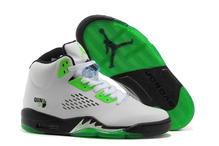 Retro Air Jordan V White Green Black