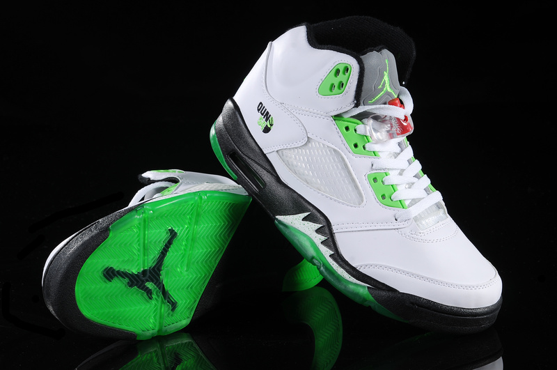 Authentic Air Jordan Retro V White Green White