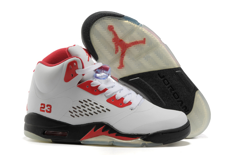 Retro Air Jordan V White Red Black