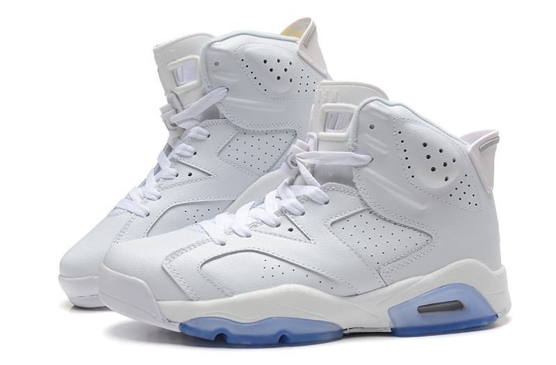 Cheap Real 2015 Air Jordan 6 All White Light Blue Sole