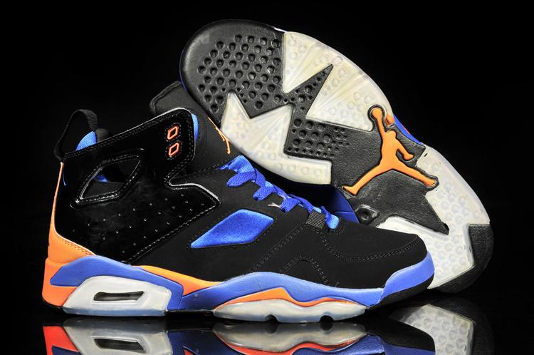 New Retro Jordan 6 Black Blue Orange White Shoes