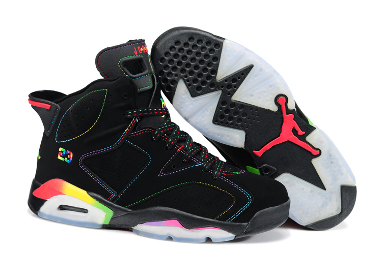 New Retro Jordan 6 Black Colorful Shoes