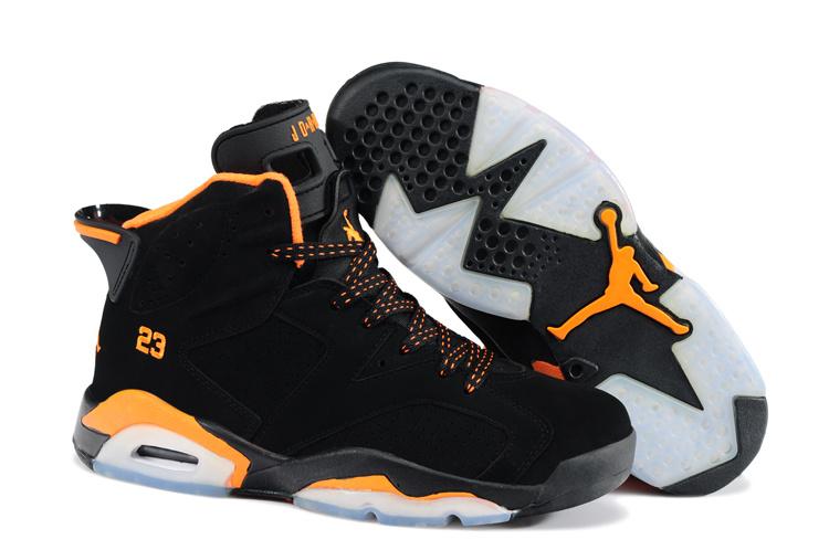 New Retro Jordan 6 Black Orange Shoes
