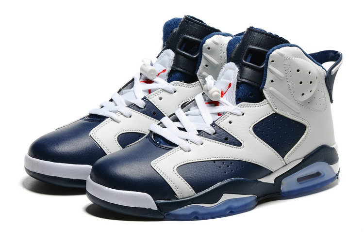 New Air Jordan 6 Olympic White Midnight Navy Varsity Red Shoes