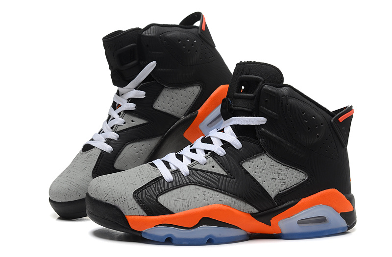 Cheap Real 2015 Air Jordan 6 Black Grey Orange