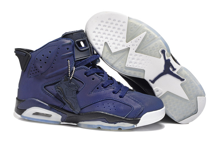 2013 Jordan 6 Retro Dark Blue White Shoes