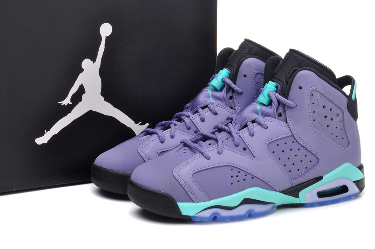 Cheap Real 2015 Air Jordan 6 Light Purple Green Black