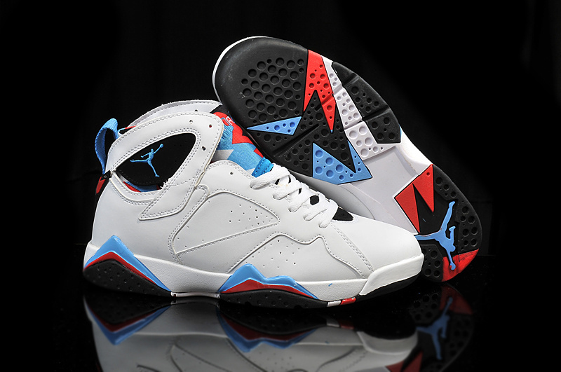 2015 Cheap Real Air Jordan 7 Retro OG White Blue Black Red Shoes