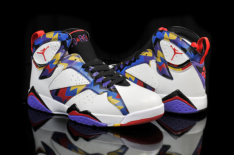 2015 Cheap Real Air Jordan 7 Retro OG White Blue Black Red Yellow Shoes