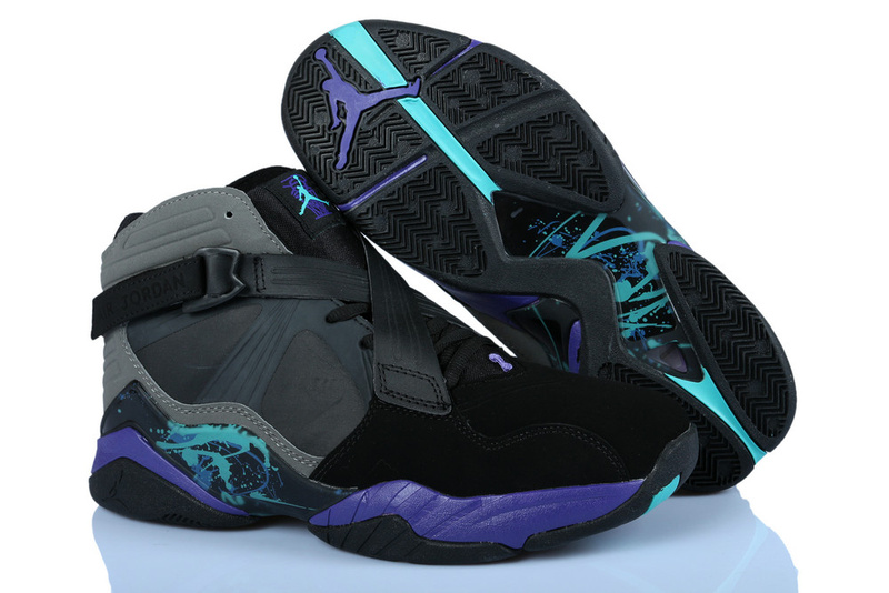 Womens Air Jordan 8 Retro Black Grey Purple Shoes