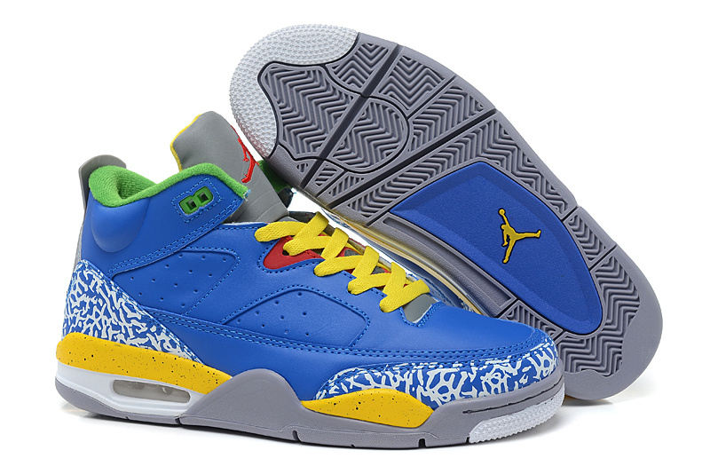 New Air Jordan Spizike Blue Yellow Grey Cement Shoes