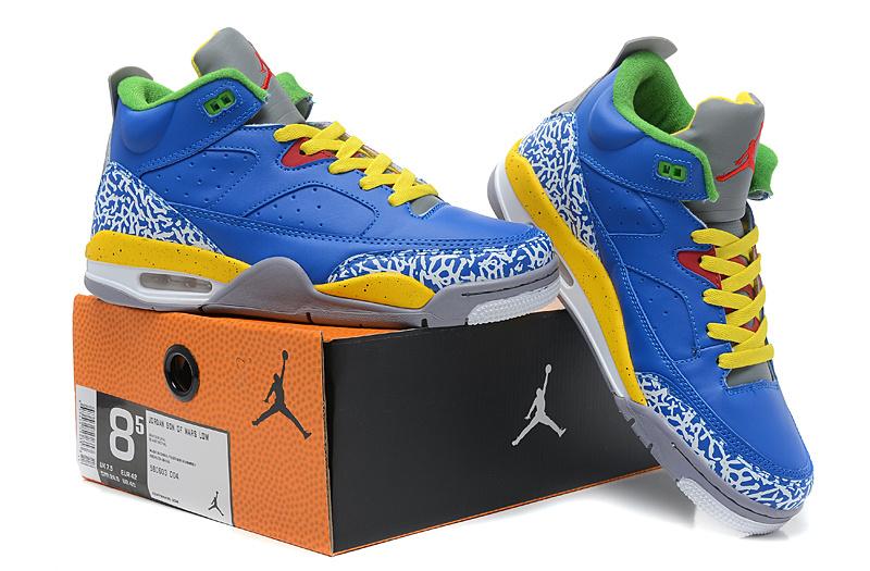 2013 Jordan Spizike Blue Yellow Grey Cement Shoes