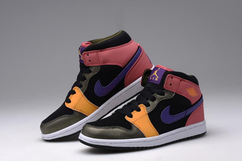 2015 Air Jordan 1 Retro Black Orange Pink Blue Shoes For Women