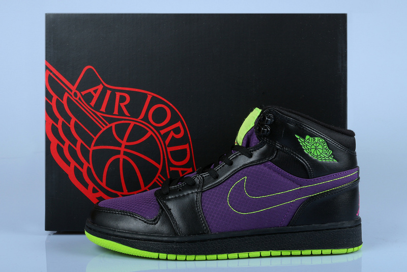 ba70464c41e2 New Jordan 1 Retro Black Purple Green Shoes -  80.00