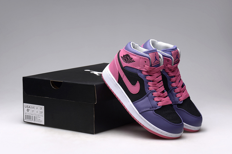 2015 Air Jordan 1 Retro Pink Blue Black Shoes For Women