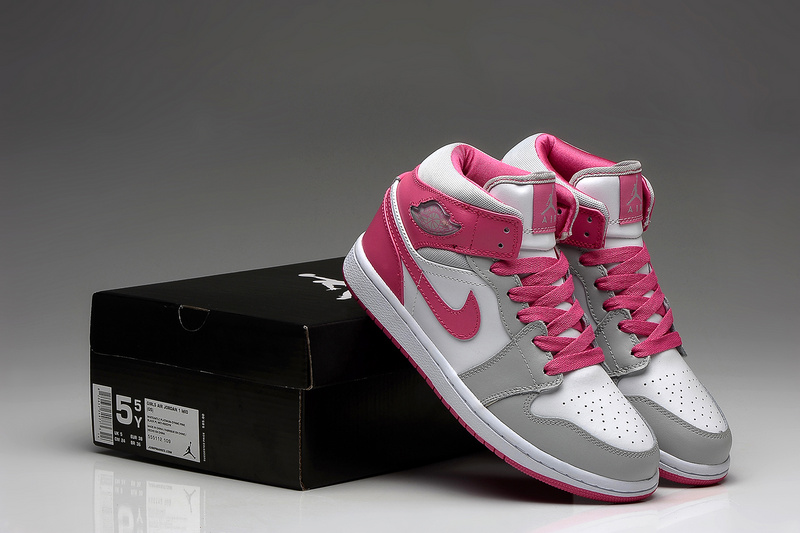 2015 Air Jordan 1 Retro White Grey Pink Shoes For Women