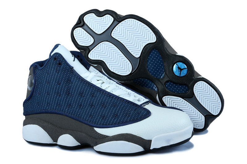 New Jordan 13 White Blue Grey With 3D Eye And Recoil Air Cushion