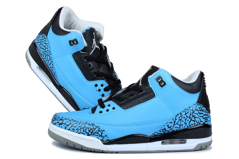 New Jordan 3 Retr Blue Moon Black Shoes