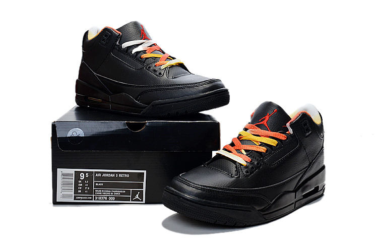 2015 Cheap Real Air Jordan 3 Retro Black Colorful Shoes