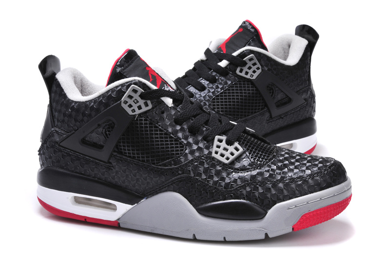 New Jordan 4 Black Grey Red Shoes