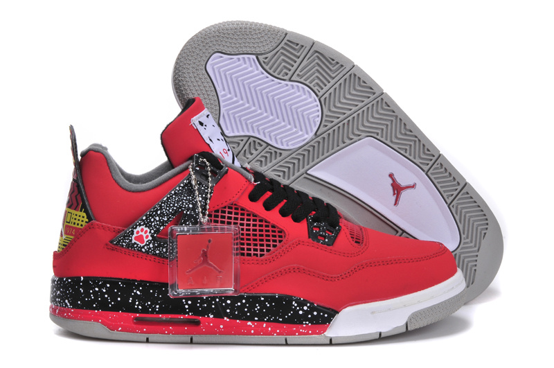 New Jordan 4 Red Black White Shoes For Women