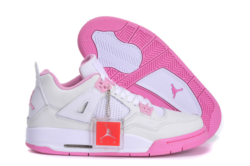 New Jordan 4 White Pink Shoes For Women