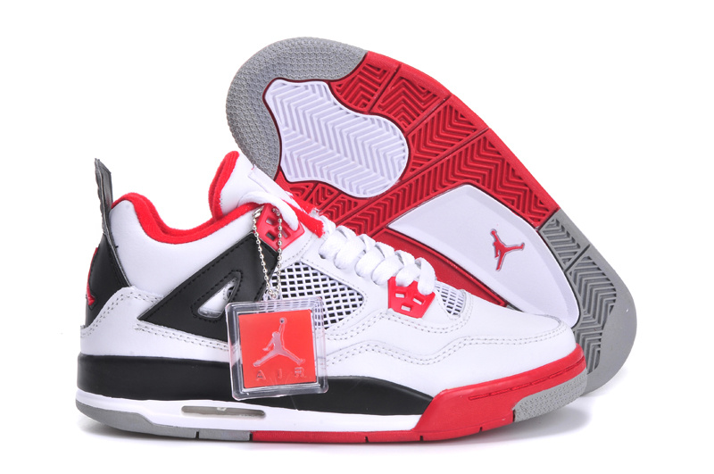 New Jordan 4 White Red Black Shoes For Women
