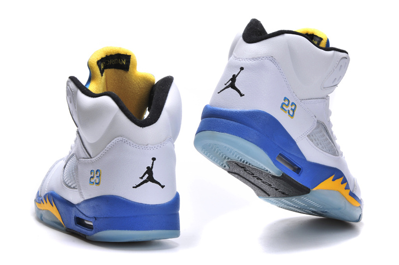 New Jordan 5 Retro White Bue Yellow Shoes - Click Image to Close