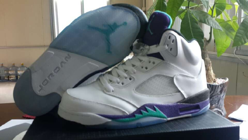 New Jordan 5 White Purple For Women