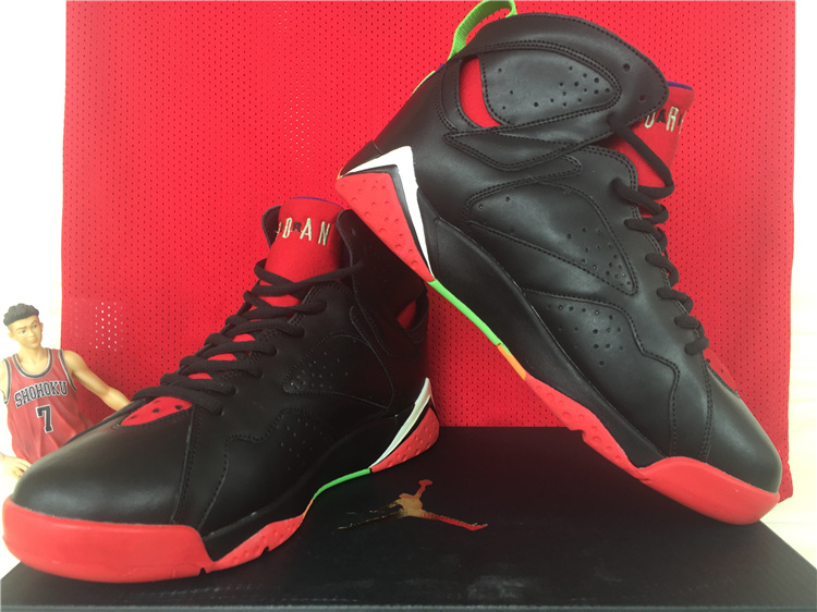 2015 Cheap Real Air Jordan 7 Retro Black Red Green