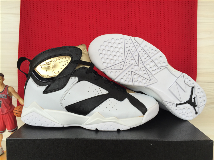 2015 Cheap Real Air Jordan 7 Retro White Black Gold