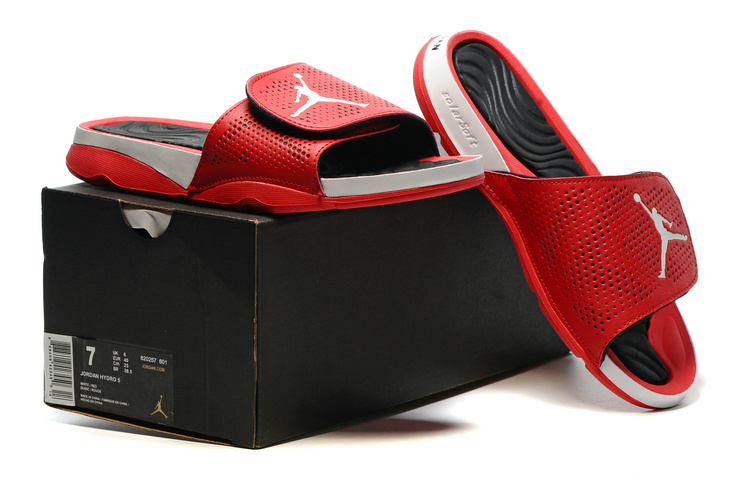 New Jordan Hydro V Retro Red White Black Sandals