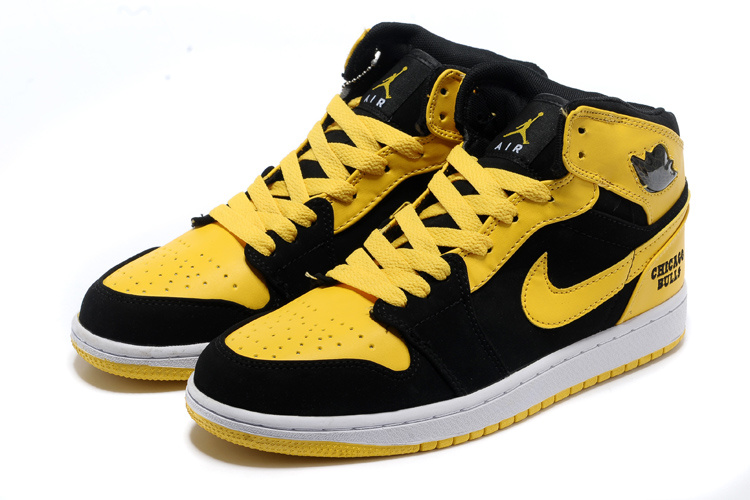 2013 New Original Jordan 1 Black Yellow White Shoes