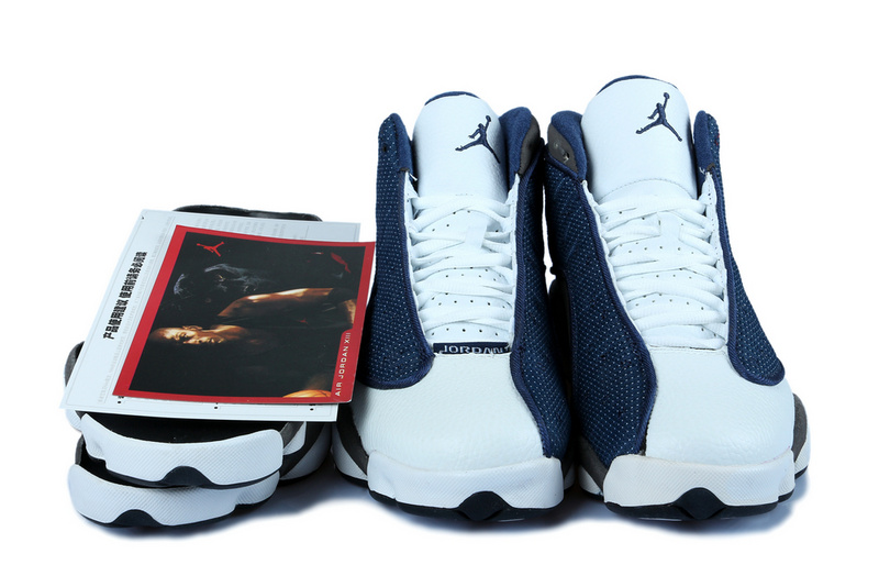 New Women Jordan 13 Blue White Grey With 3D Eye And Recoil Air Cushion