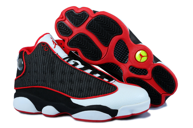 New Women Jordan 13 White Black Red With 3D Eye And Recoil Air Cushion