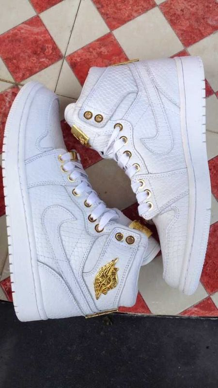 2015 Real Air Jordan 1 Shoes All White Gold