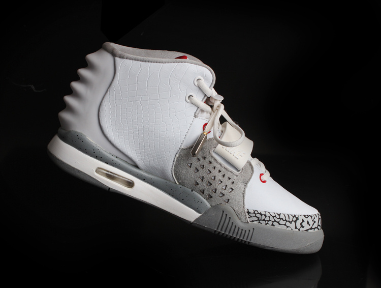 2013 Air Yeezy 2 White Grey Cement Shoes