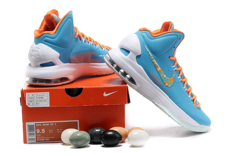 meet a8d28 ac3ea Nike Kevin Durant V Easter Blue White Yellow Shoes